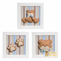 Trio Quadros Decorativos Quarto Bebê Infantil Urso Ursinho