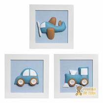 Trio Quadros Decoração Quarto Bebê Infantil Meios Transporte