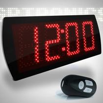 Painel Relógio Digital Grande Leds Para Rodoviária, 58x25 Cm