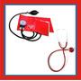 Kit Enfermagem Estetoscopio Duplo E Esfigmo Vermelho