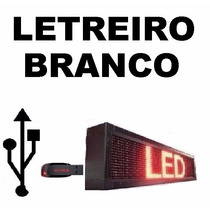 Painel Led Letreiro Luminoso Digital 100x020 Branco Usb