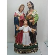 Imagem Sagrada Familia Em Resina 17cm Detalhes Dourados