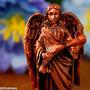Promoção Arcanjo Anjo São Rafael Em Resina Cor Bronze