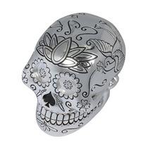 Escultura Caveira Tatuada (skull Tattoo) Em Resina 11x10cm