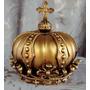 Decoração Coroa Resina Festa Princesa Vintage Dourada Grande