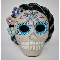Caveira Mexicana Frida Kahlo - Artesanato Cerâmica Original