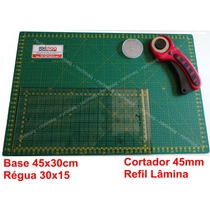 Kit Base De Corte,régua,cortador,refil Patchwork Scrap Mod 2