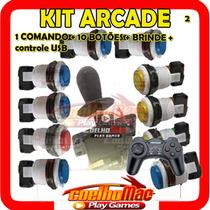 Kit Arcade 10 Botões Acrilico+ Comando + Controle Usb