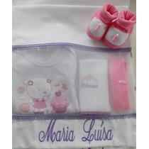 Saquinho Maternidade Kit 3 Pçs Roupa Bebê Bordado Enxoval Ch