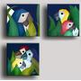 3 Quadros Painéis Gravura Tela Pintura Cubismo Araras 30x30