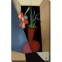 Quadro Decorativo Gravura Tela Painel Cubismo Vaso 3 80x50