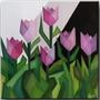 Quadro Decorativo Gravura Painel Cubismo Tulipas Rosas 40x40