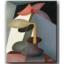 Quadro Decorativo Gravura Tela Painel Cubismo Vaso1 50x40cm