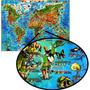 Mapa Mundi Ilustrado Mundo Animais Hábitos Medidas + Sedex
