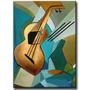 Quadro Decorativo Gravura Tela Painel Cubismo Violão2 80x60