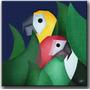 Quadro Decorativo Gravura Tela Painel Cubismo Araras2 70x70