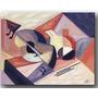 Quadro Decorativo Gravura Tela Painel Cubismo Violão1 70x50