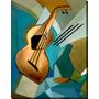 Quadro Decorativo Tela Painel Gravura Cubismo Violão2 100x80