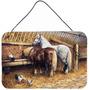 Comer Dos Cavalos Com As Galinhas Parede Ou Porta De Suspens