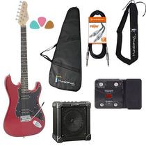 Kit Guitarra Rock G-102 Vermelha Giannini + Pedaleira+ Cubo