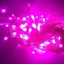 Pisca Pisca Natal 100 Led 110v 9m Lineares 8 Funções Rosa