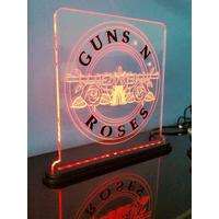 Luminária/abajur Em Acrílico 6mm Com Led - Guns N Roses