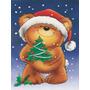 O Urso De Peluche E Árvore De Natal Da Bandeira Da Lona Cas