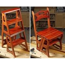 Projeto, Marcenaria Kit Cadeira Vira Escada Mesa Vira Banco.