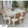 Ca295 - Jogo De Mesa Madeira Demolição Com 8 Cadeiras
