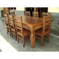 Ca367 - Jogo Mesa Em Madeira De Demolição Com 8 Cadeiras