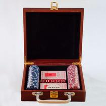 Maleta Madeira De Poker Kit 100 Fichas Numeradas