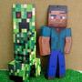 2 Placas Quadro Minecraft Em Mdf Adesivado 64cm