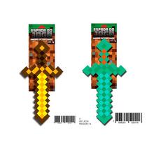 2 Espadas Minecraft Diamante E Ouro 60cm Game Jogo Inmetro