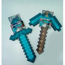 Kit Com Espada E Picareta Minecraft Diamante Borracha Dura