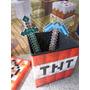 Kit Puff Tnt Baú Desmontável + Espada E Picareta Minecraft