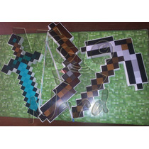 Kit Com Mini Espada, Mini Picareta E Mini Arco Minecraft