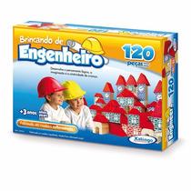 Brinquedo Pedagógico Madeira Brincando Engenheiro 120 Peças