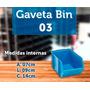 Caixa Gaveta Plástica Azul Ou Preta Nº3 Bin 100 Peças