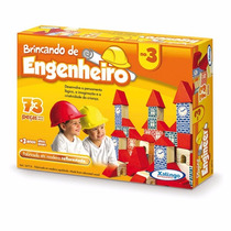Brinquedo Pedagógico Madeira Brincando Engenheiro 73 Peças