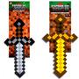 02 Espadas Original Jogo Minecraft Diamante Ferro Ouro 60cm