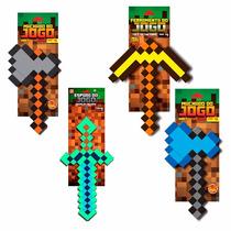 Monte Seu Kit Minecraft 4 Ferramenta Machado Espada Picareta