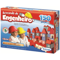 Brinquedo Pedagógico Madeira Brincando Engenheiro 150 Peças