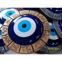 Olho Grego Com Moldura Envelhecidas, Ouro Prata E Bronze