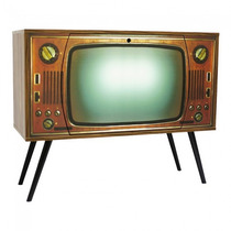 Armário Retro Tv Com 1 Porta Basculante E Pés Palitos Nogal