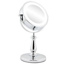 Espelho Cromado Duplo Aumento De 5x Iluminado Com Luz Led