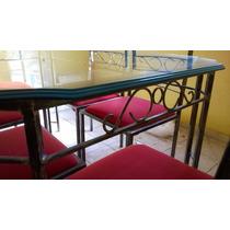 Linda Mesa De Ferro Fundido Com 6 Cadeiras E Tampo De Vidro