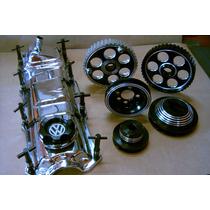 Kit De Polias De Aluminio E Tampa De Valvulas Cromada