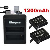 Kit De 2 Baterias Com Carregador Go Pro Gopro Hero 4 1200mah