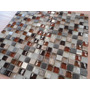 Mosaico 1,5x1,5cm De Pedra, Vidro E Inox Em Placa De 30x30cm