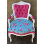 Poltrona Cadeira Luix Xv Com Almofada E Puff Capitone Decora